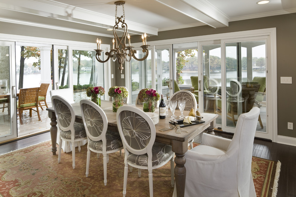 Dining room - transitional dark wood floor dining room idea in Indianapolis with brown walls