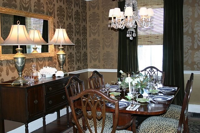 Dining Room In Gold Wallpaper From Thibaut Traditional Dining