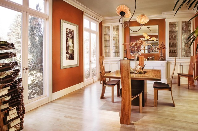 Contemporary Dining Room Idea In San Francisco With Light Wood Floors Brown Walls And Beige