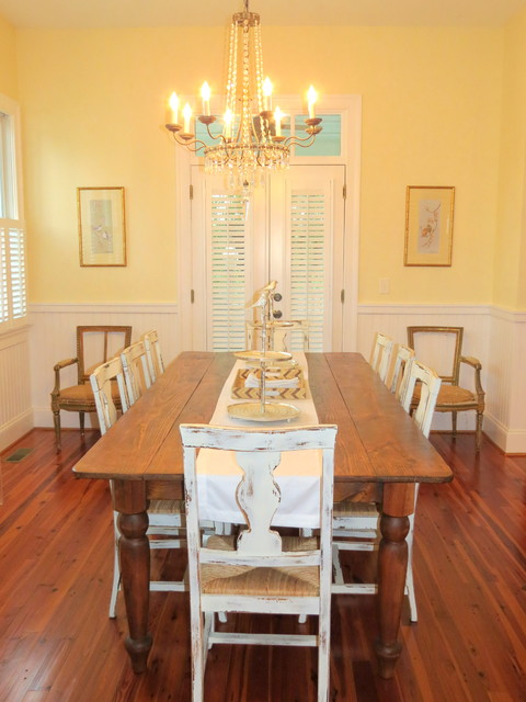 French country dining room with antique chairs dining room
