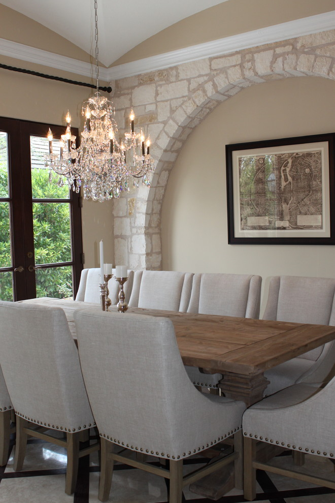 Inspiration for a timeless dining room remodel in Miami with beige walls