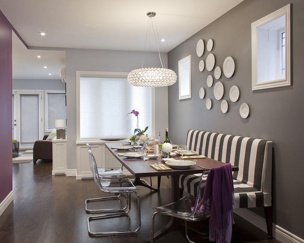 Trendy great room photo in Toronto with gray walls