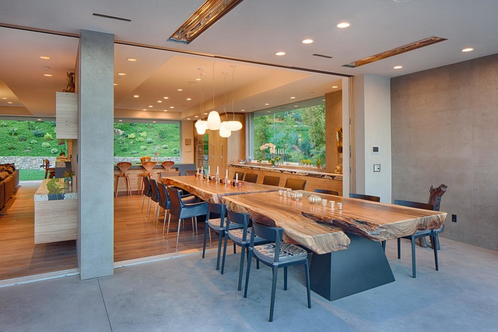 Large trendy light wood floor kitchen/dining room combo photo in San Diego with gray walls