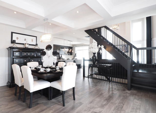 Transitional Dining Room Idea In Toronto With Brown Floors