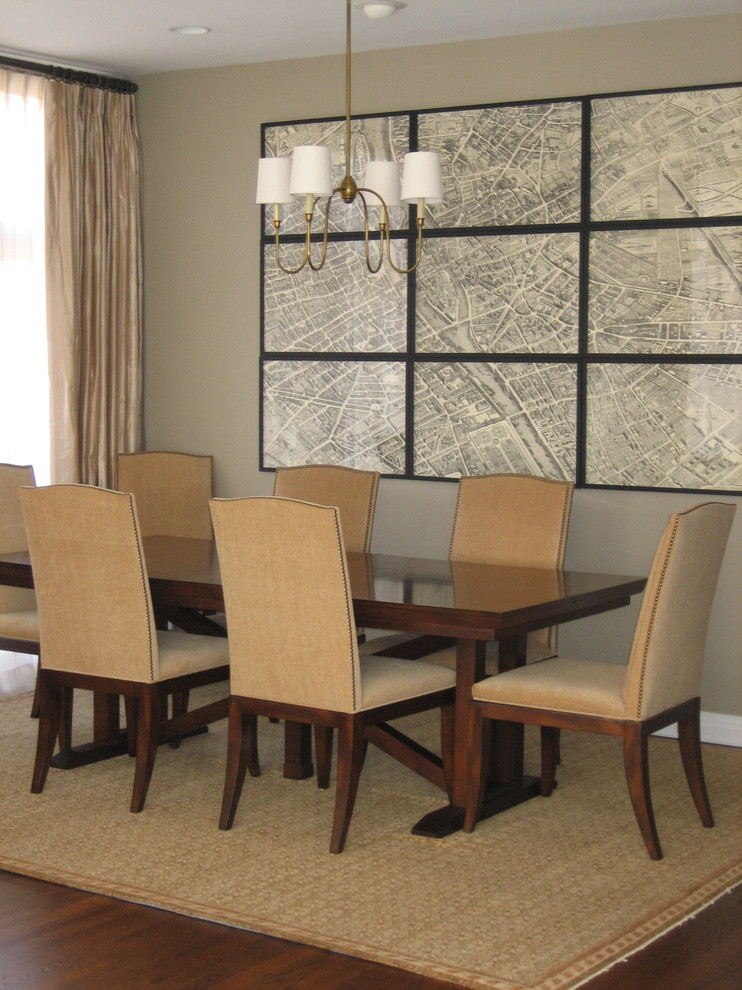 Dining room - transitional dark wood floor dining room idea in Chicago with gray walls