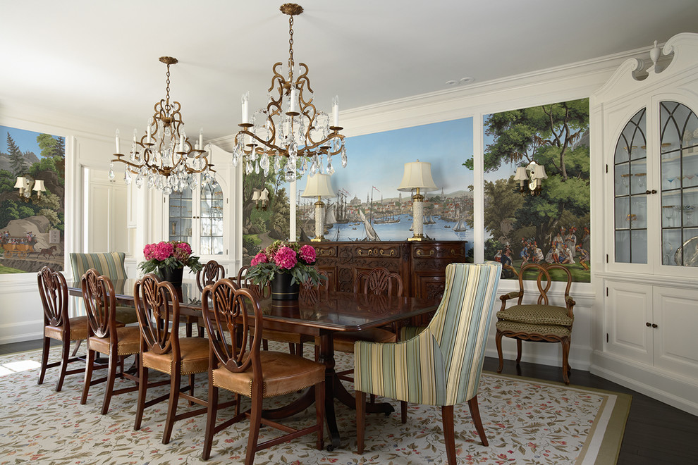 Mid-sized elegant dark wood floor enclosed dining room photo in Minneapolis with white walls