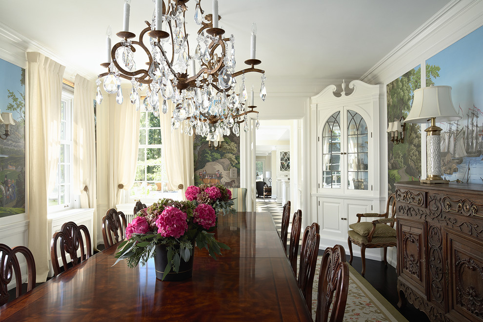 Enclosed dining room - mid-sized traditional dark wood floor enclosed dining room idea in Minneapolis with white walls