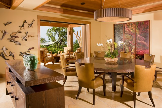 Dining Room Tropical Dining Room Hawaii by Saint Dizier Design