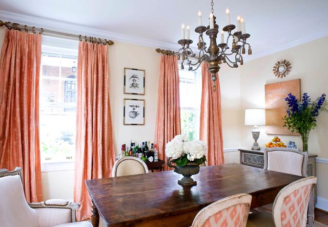 Dining room - contemporary dark wood floor dining room idea in DC Metro with beige walls