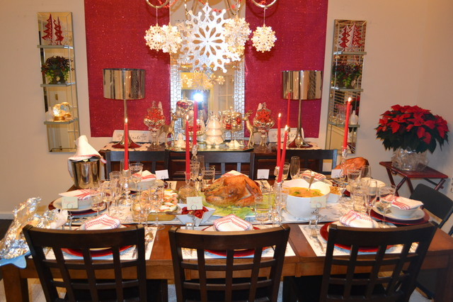 Lovely Dining Room Set Up For Holidays Contemporary Dining Room
