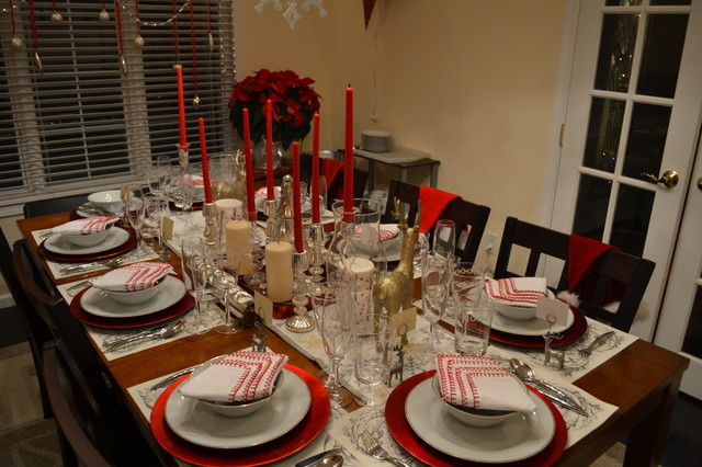 Dining room set up for Holidays Contemporary Dining