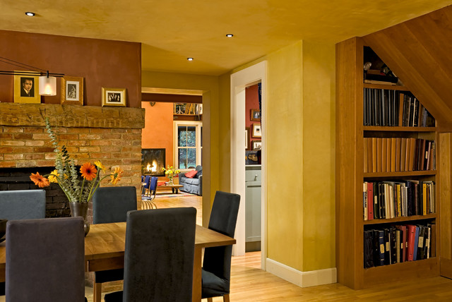 Great Dining Room Showing Bookcase Under Staircase Contemporary Dining Room