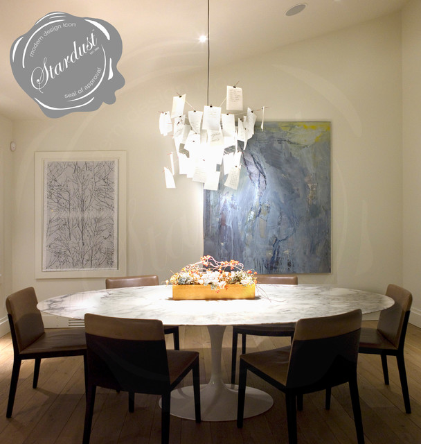 Modern dining room chandelier shoes on the ceiling the for Dining room chandeliers contemporary