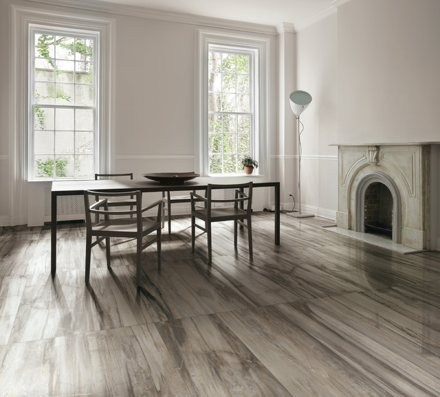 Dining room tile flooring petrified wood tile for Dining room tile floor designs