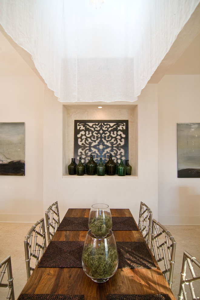 Example of an eclectic dining room design in Birmingham with beige walls