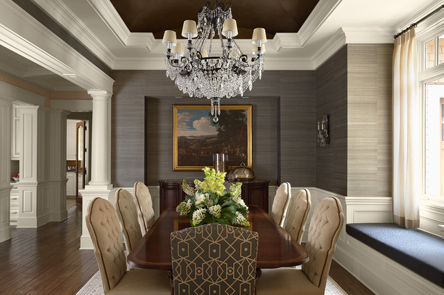 Dining room - traditional dark wood floor dining room idea in Minneapolis with gray walls