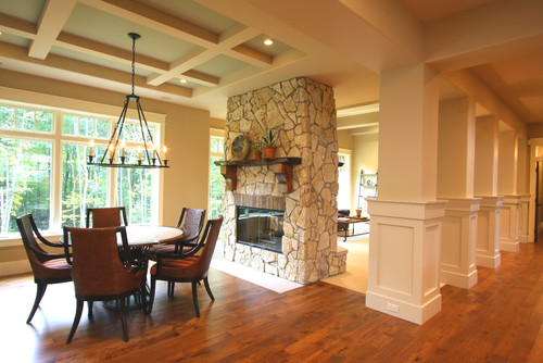 Is the transition around the fireplace wood to carpet or for Traditional dining room fireplace