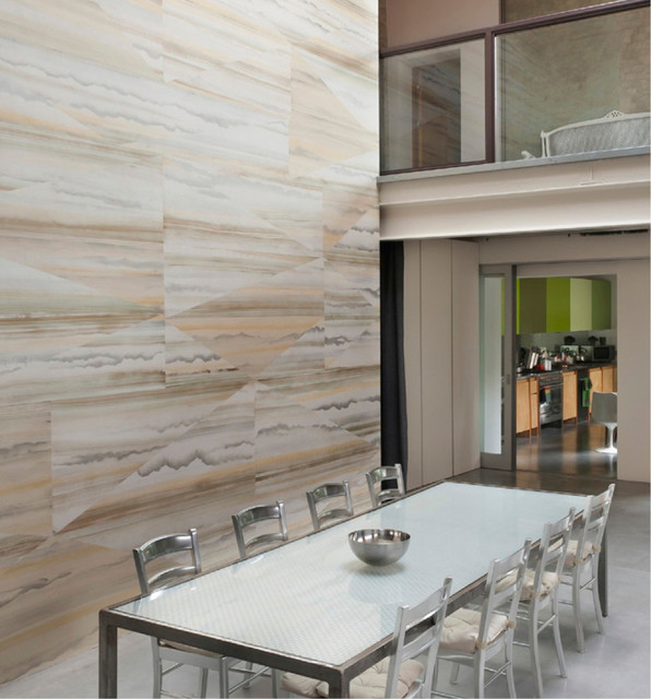 Dining room wallpaper travertine contemporary for Wallpaper for dining room feature wall