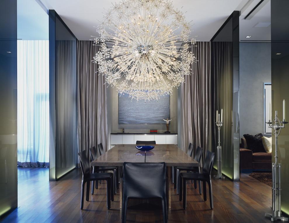 Example of a trendy dark wood floor dining room design in Chicago