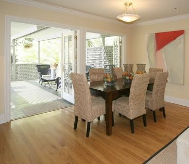 Dining room with 2 sets of outswing french doors to large for Dining room ideas with french doors