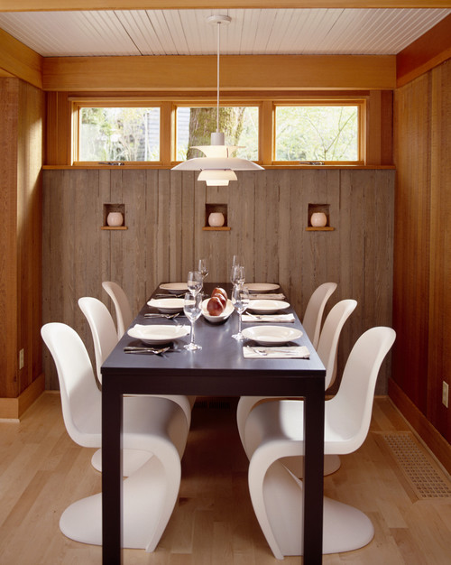 Dining Room with Board Formed Concrete Walls