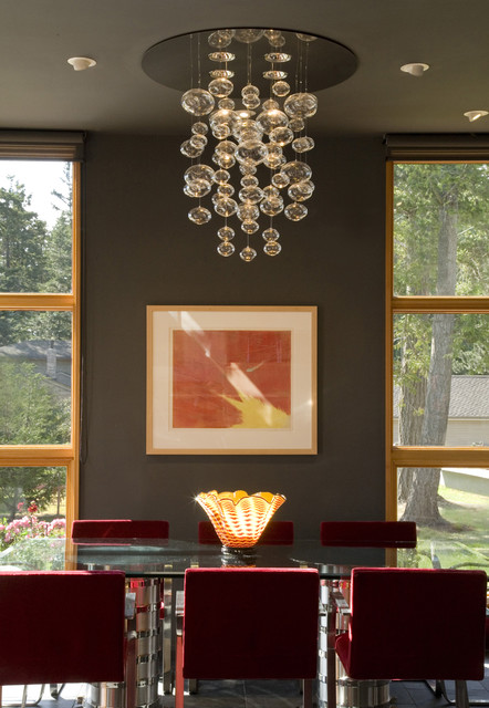 Dining Room With Bubble Light Eclectic