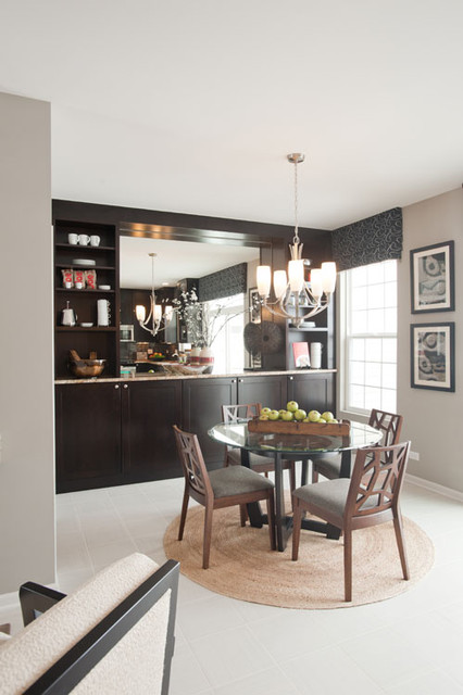 dining room with built in ceiling height cabinet contemporary dining