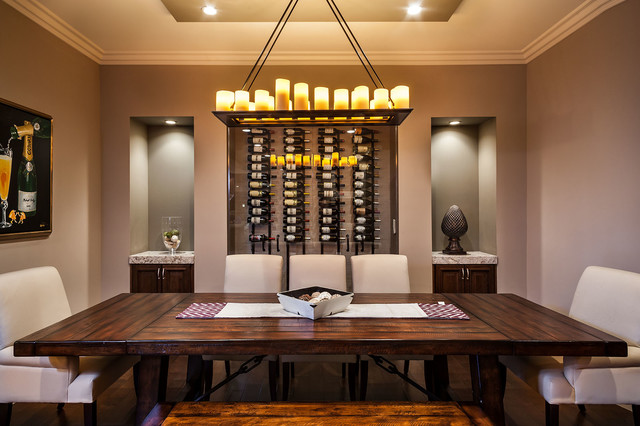 Dining Room With Built In Wine Display Transitional