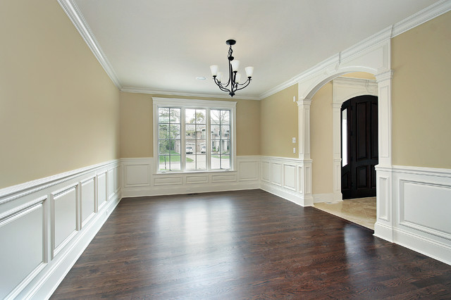 dining room with custom wainscoting traditional dining room