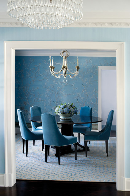Dining Room With Decorative Wallpaper And Chandelier