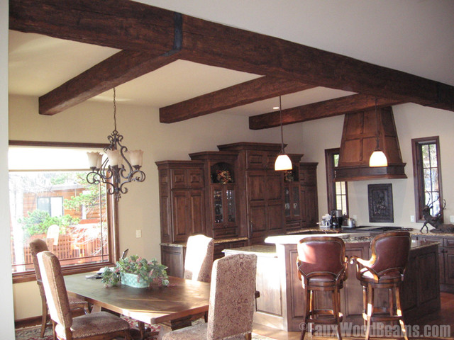 Dining room with faux wood beams traditional dining for Where to buy faux wood beams