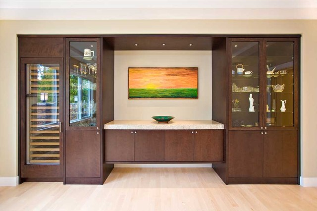 Dining room with sideboard built in and wine cooler