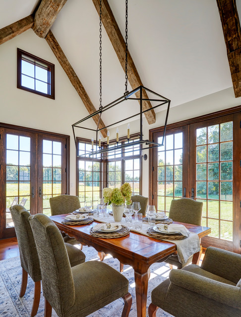 Dining Room With Vaulted Ceiling And Hand Hewn Beams Country Dining Room Chicago By Orren Pickell Building Group Houzz Au