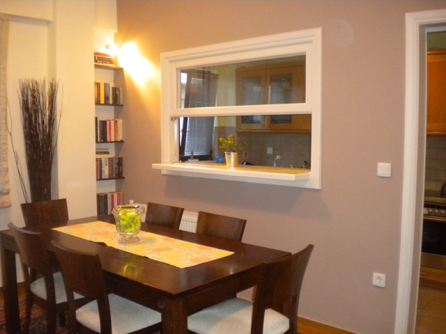 Dining room with window to the kitchen for Dining room window designs