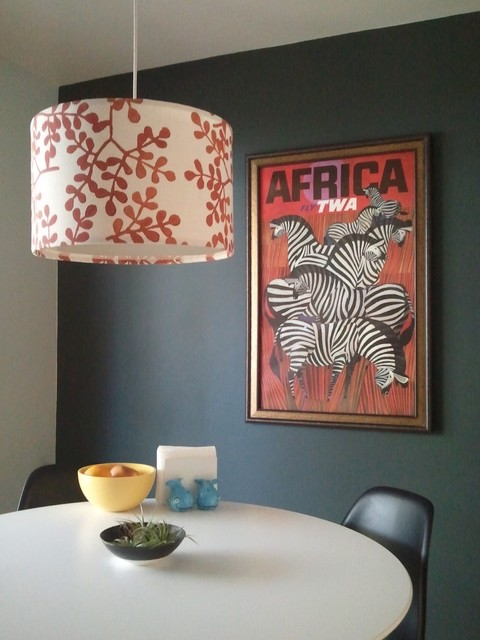 Dining room with zebra poster eclectic dining room for Dining room posters