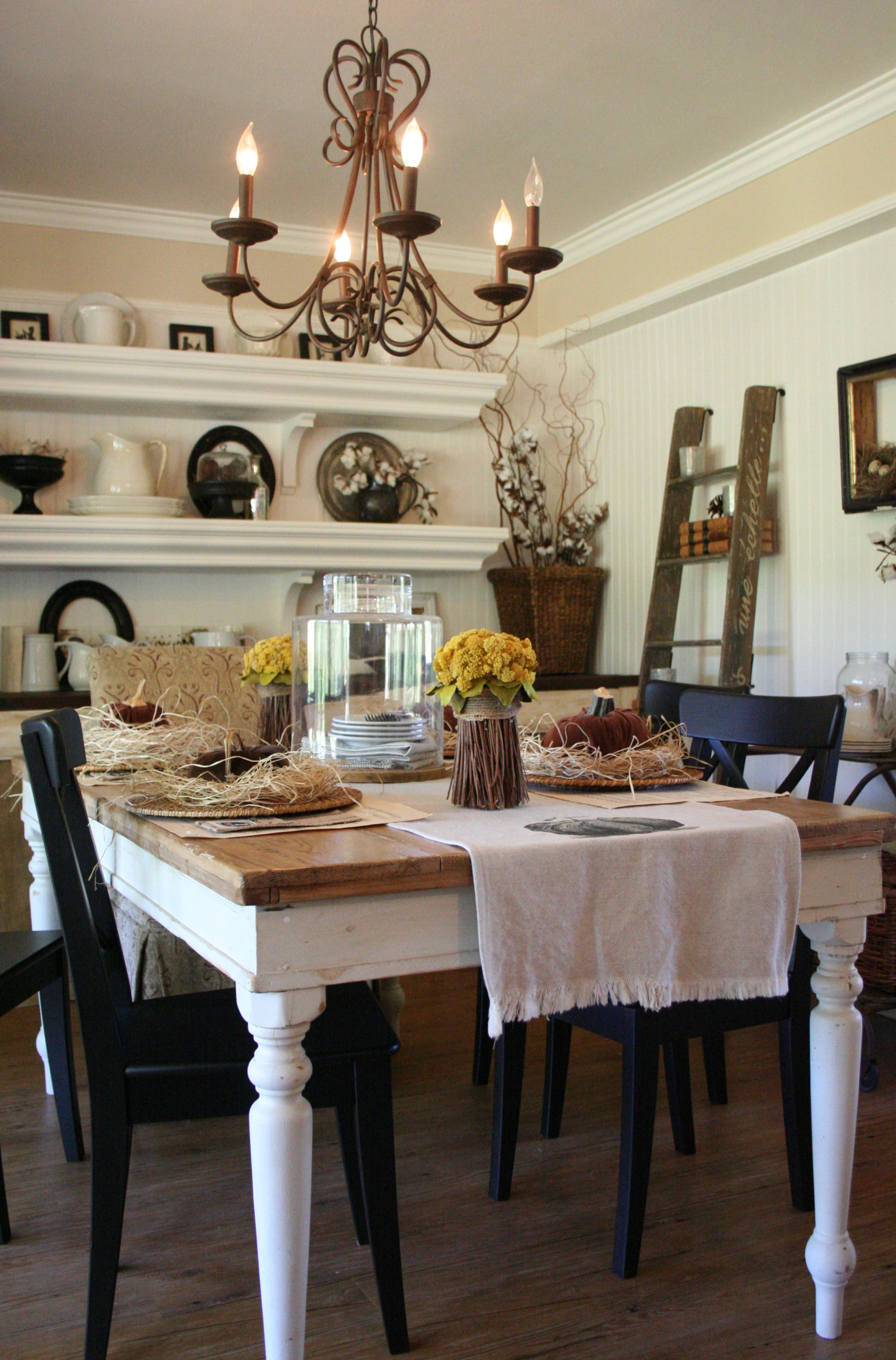 Dining Space Decorated for Fall