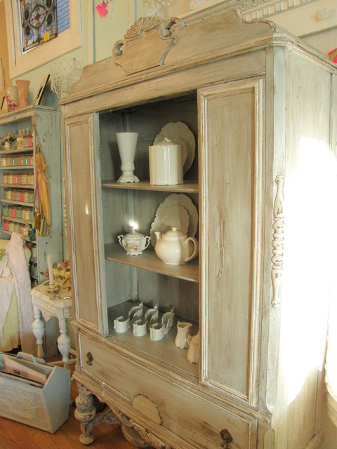 Distressed Antique China Cabinet Shabby Chic Eclectic Dining Room