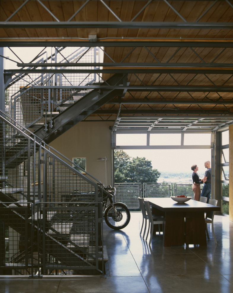Inspiration for an industrial dining room remodel in Seattle