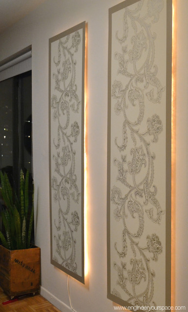 Diy Floating Lighted Wall Panels Contemporary Dining