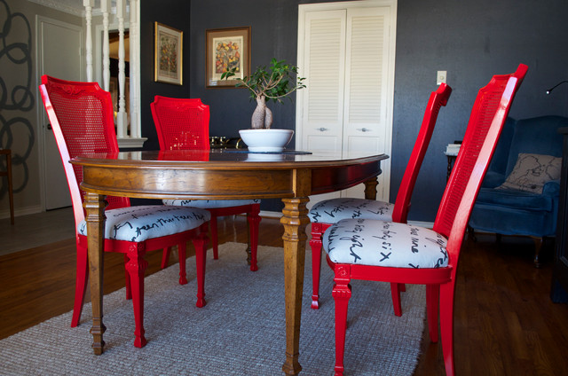 diy ideas spray paint and reupholster your dining room chairs eclectic dining room - Dining Room Chair Reupholstering