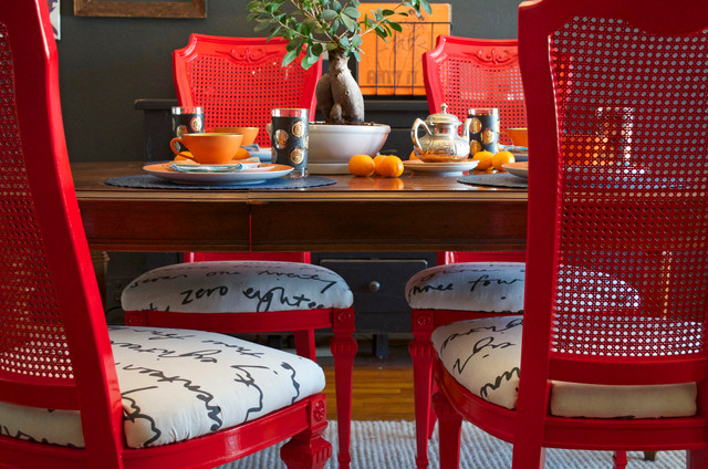 diy ideas spray paint and reupholster your dining room chairs eclectic dining room - Dining Room Red Paint Ideas