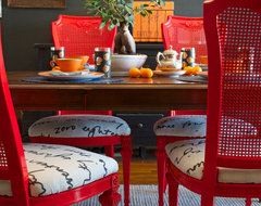 DIY Ideas: Spray Paint and Reupholster Your Dining Room Chairs eclectic-dining-room