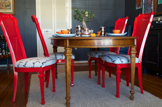 DIY Ideas Spray Paint And Reupholster Your Dining Room Chairs Eclectic
