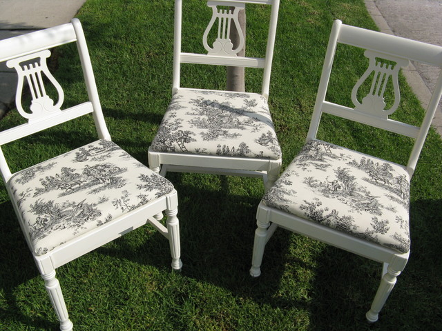 diy vintage chairs toile fabric - eclectic - dining room - los