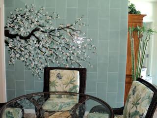 Inside Houzz An Art Mosaic Wall Banishes Dining Room Gloom