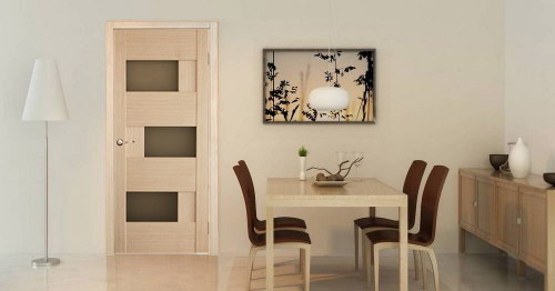 "dominika""- white oak dining room interior door with smoky glass"