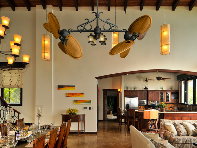Double Ceiling Fans - Rustic - Dining Room - Miami - by ...