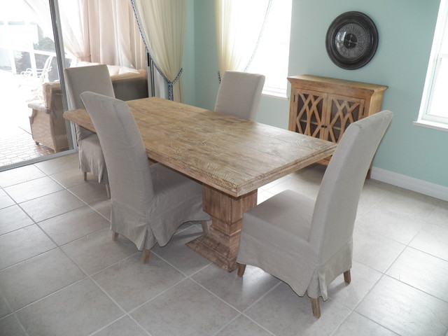 Double Pedestal Dining Table With Slip Cover Chairs Small Sideboard Beach Style