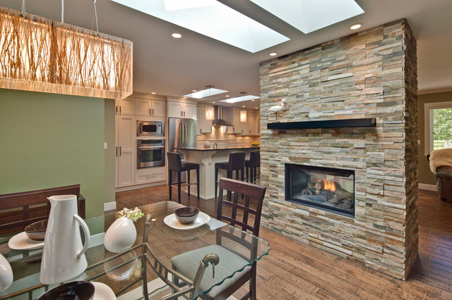Double Sided Fireplace Dinning Area Contemporary Dining Room