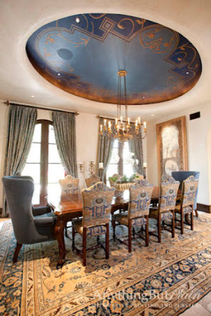 Dramatic Blue Oval Dining Room Dome Traditional Dining